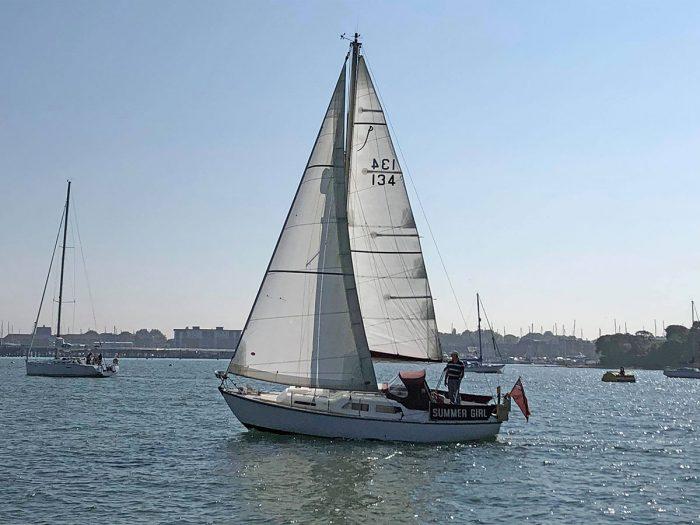 Summer Girl under sail in May, 2018