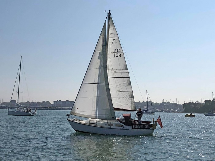 Summer Girl under sail in May, 2018