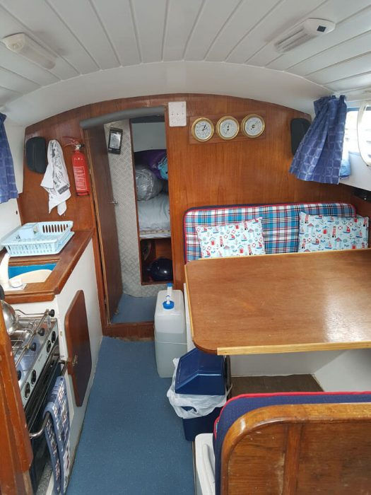 Updated interior – saloon and galley