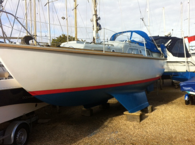 Boot line and anti fouling done and teak rubbing strake freshened up ready for relaunch in early April
