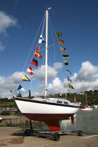 Sabreuse ex Sabre Run on launch day at Benfleet yacht club following major refit