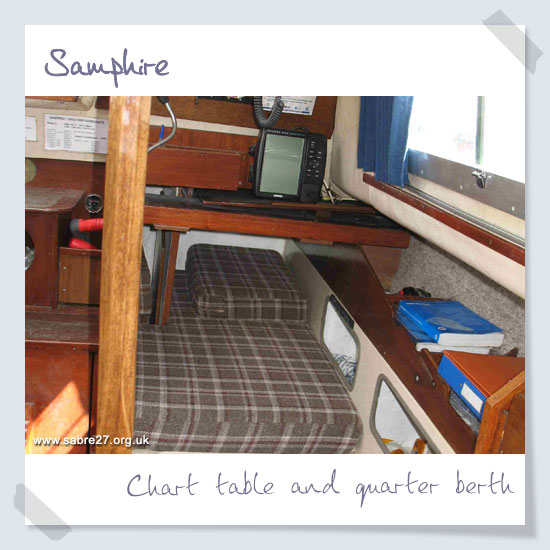 Chart table and quarter berth